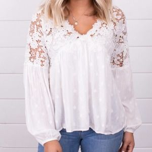 Free People Lina White Lace Top